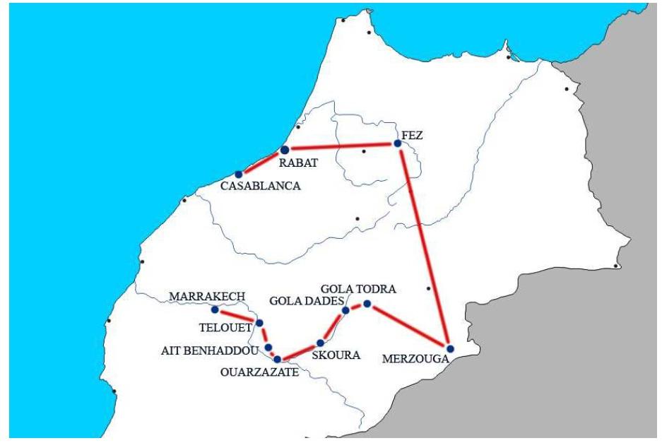 mappa tour marocco itinerario