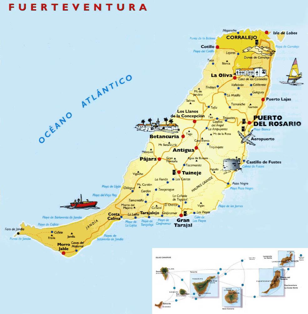 Cartina Fuerteventura Spagna