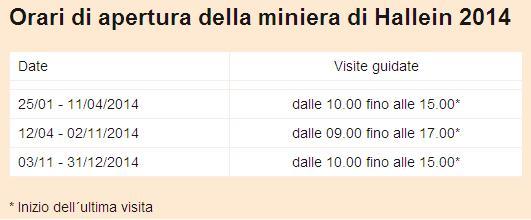 orari miniere 2014