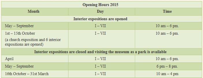 opening hours open air museum lituania