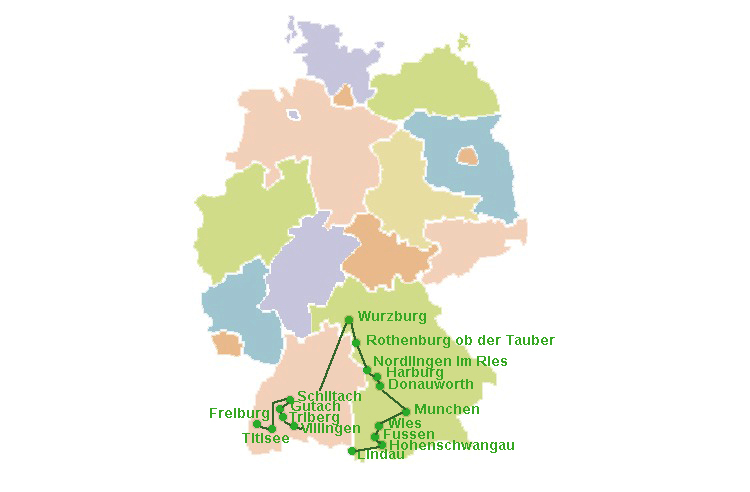 mappa itinerario_baviera e foresta nera_cosa vedere