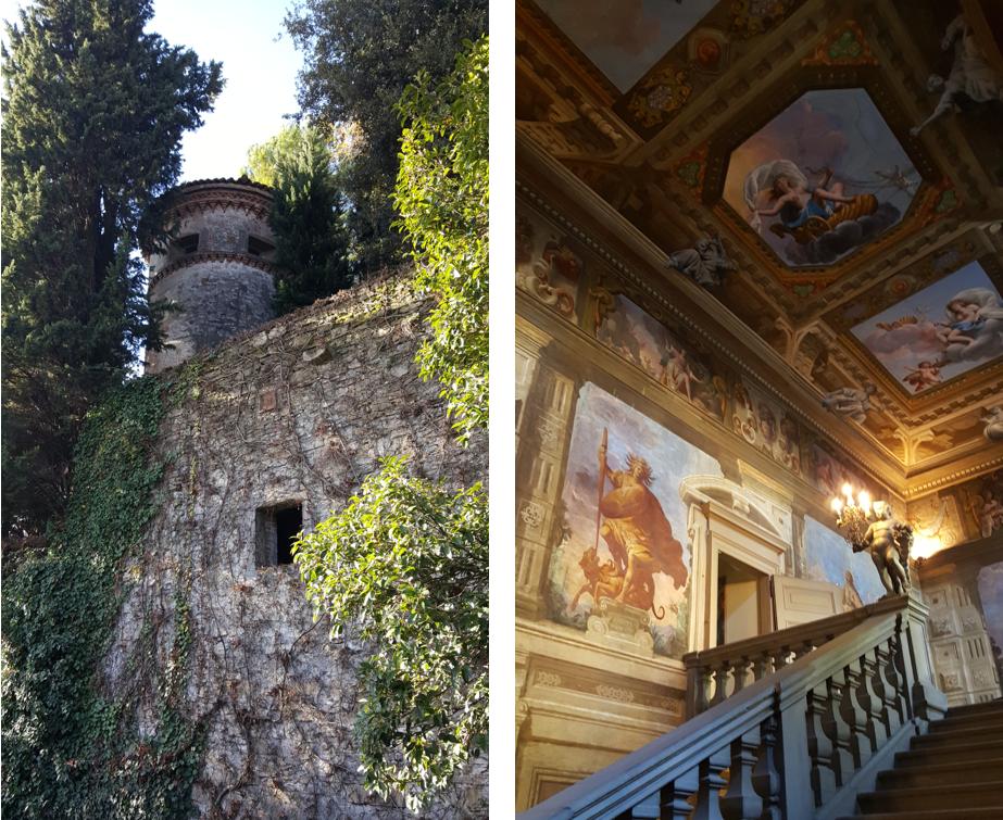 La torre medievale nel giardino e lo scalone monumentale di Palazzo Moroni a Bergamo