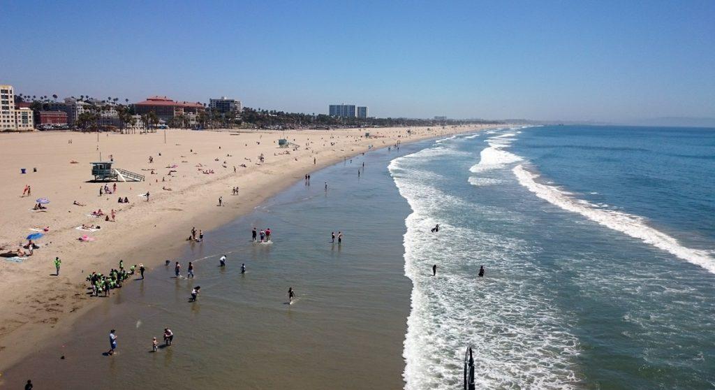 La spiaggia di Santa Monica vista dalla ruota panoramica