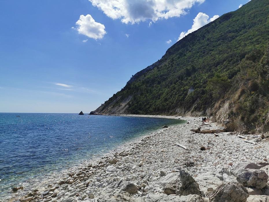 La bella spiaggia di Portonovo, tra le più belle del Conero