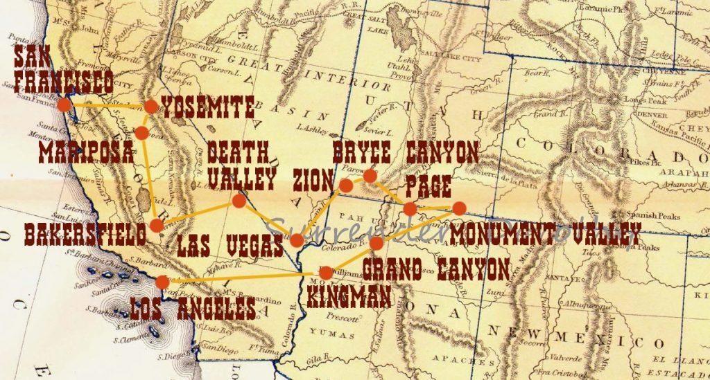 mappa dell'itinerario di 15 giorni negli stati uniti occidentali west coast