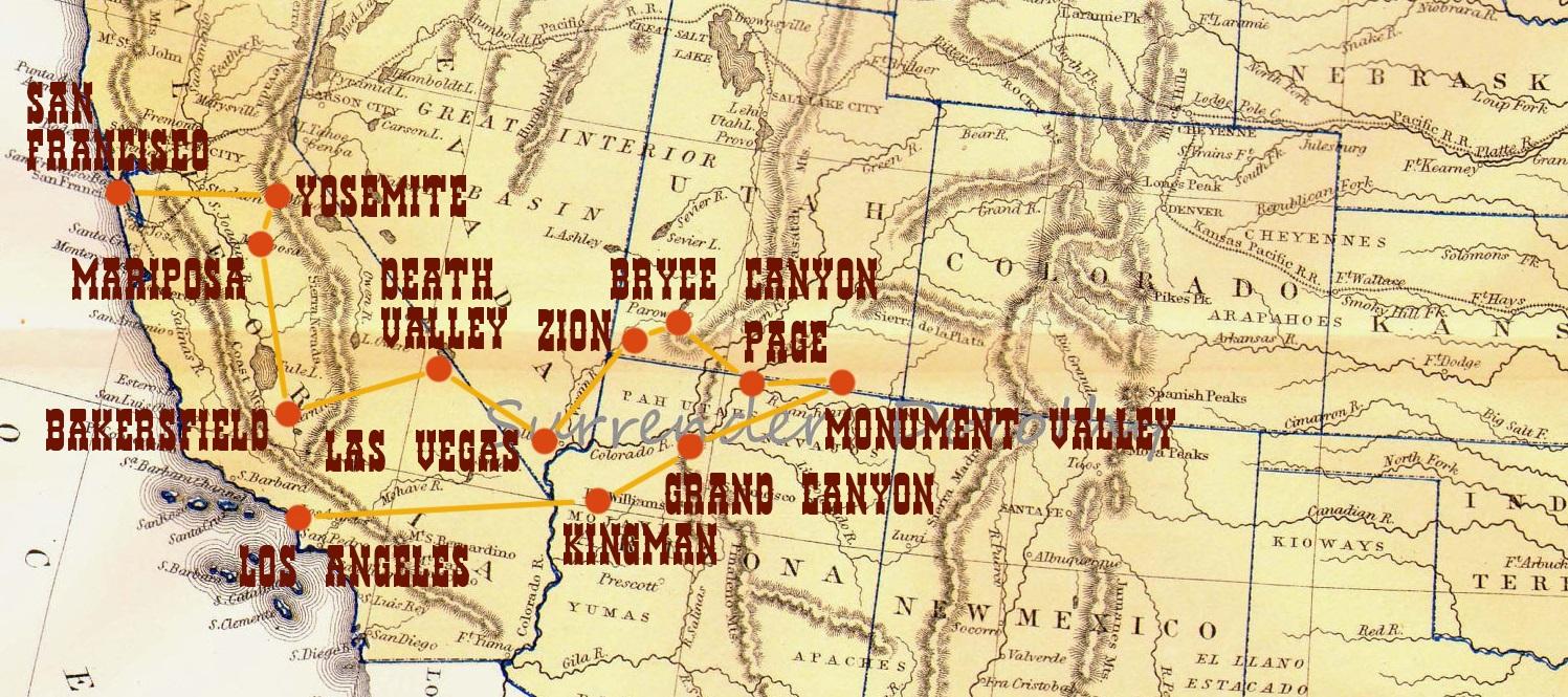 mappa tour west usa itinerario