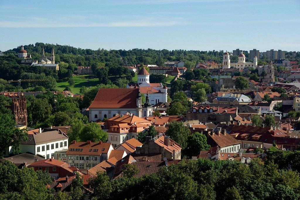 La città di Vilnius vista dall'alto