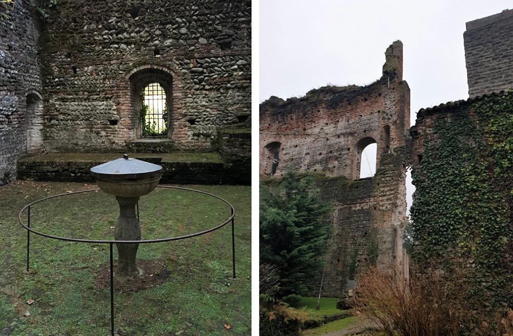Castello di Trezzo sull'Adda: la corte ed alcune mura del palazzo