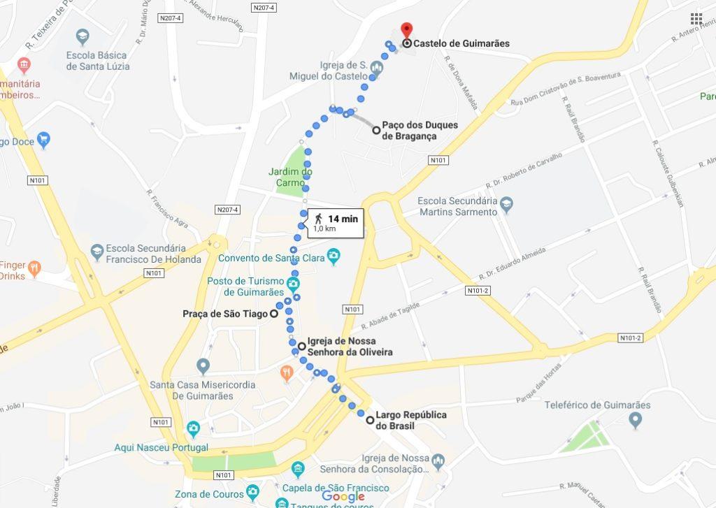 mappa guimaraes_itinerario_cosa vedere
