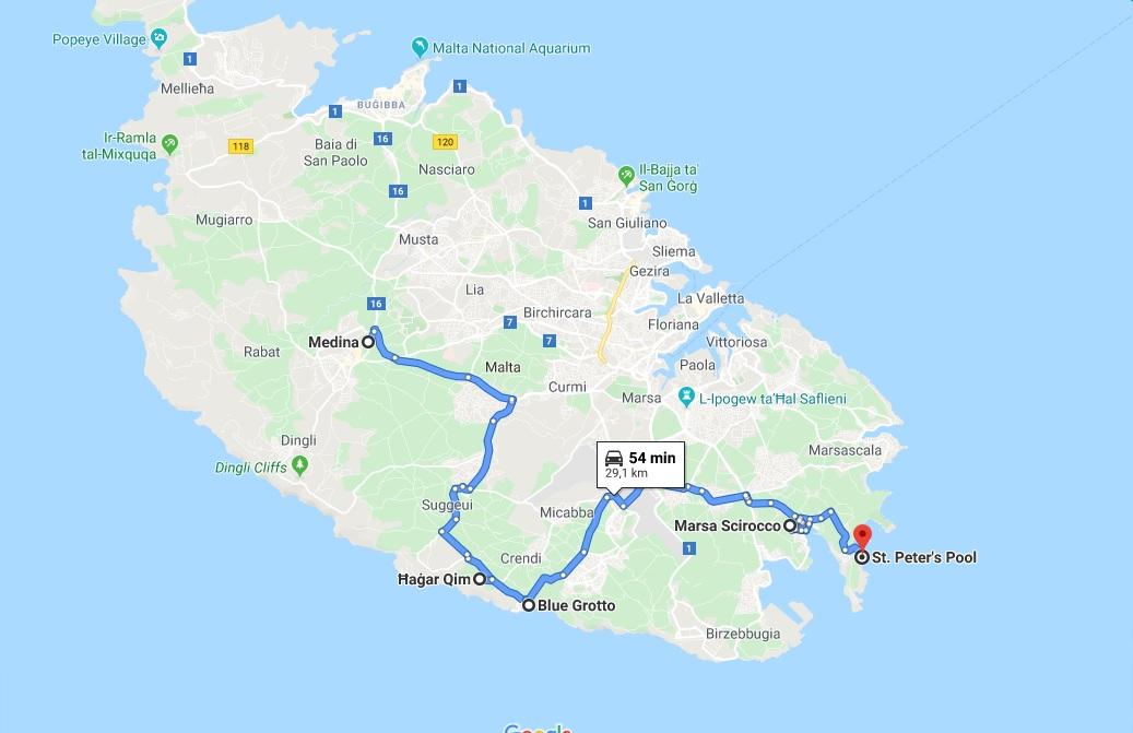 mappa itinerario malta in un giorno