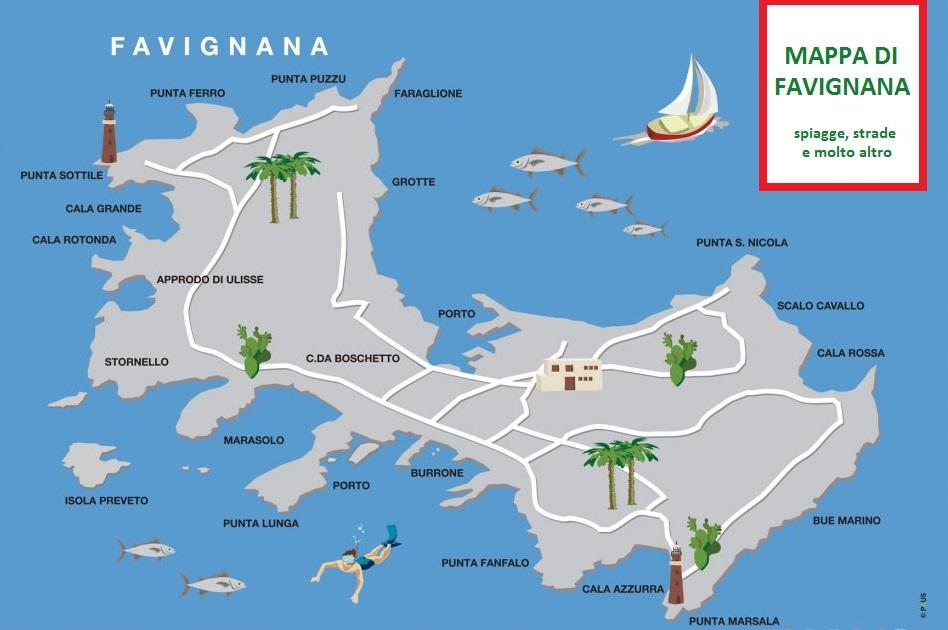 favignana mappa con spiagge e strade