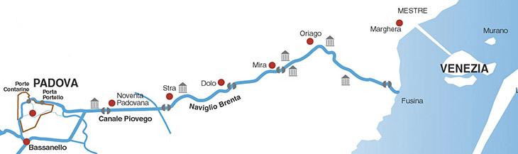 mappa della riviera del brenta e della navigazione ville venete