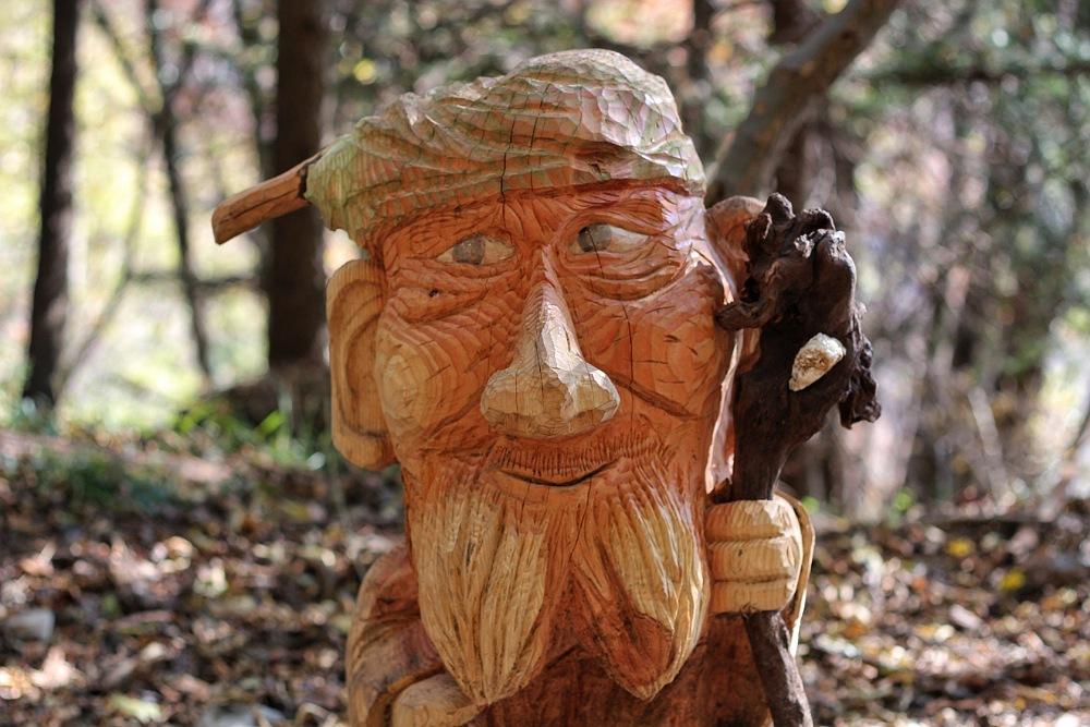 sculture di legno nel bosco di canzo in autunno