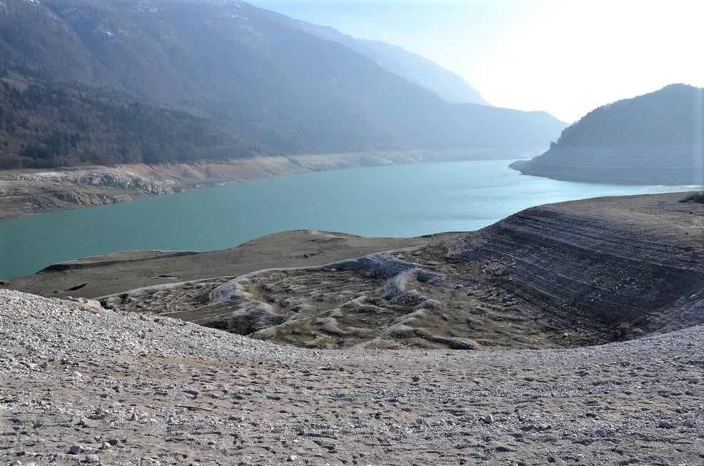 Il Lago di Molveno svuotato nel 2017